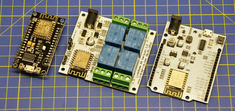 Schede basate su ESP8266. Da sinistra verso destra: NodeMCU DevKit generico, Linknode R4, Linknode D1