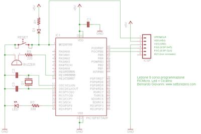 PIC16F877: led+cicalino