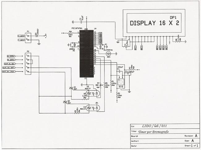Schema Collegamento Orologio Temporizzatore : User project timer per bromografo con lcd ed encoder