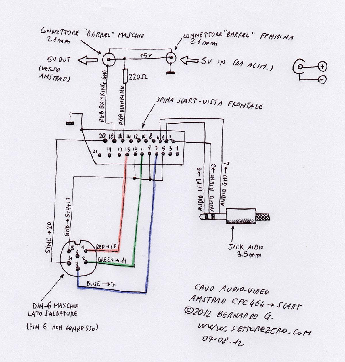 cavo audio  video amstrad cpc464