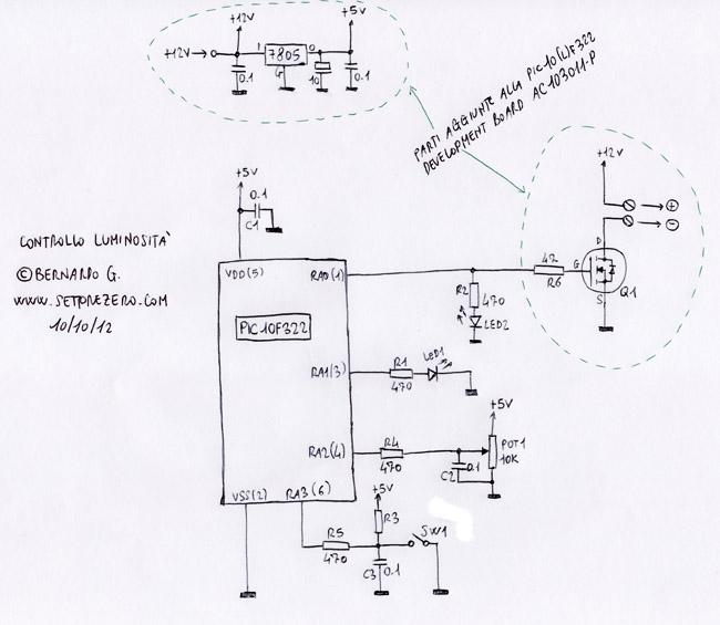 Schema Elettrico Regolatore Pwm : Regolazione luminosità breathing led pwm con mosfet e