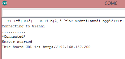 Server avviato. Appena aprite il monitor seriale sull'ESP8266 capita di vedere dei caratteri apparentemente a caso all'inizio