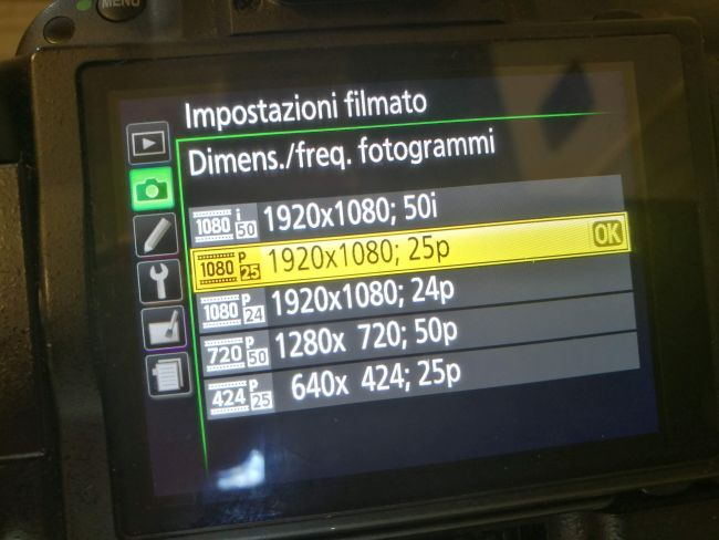 Risoluzioni/FPS disponibili sulla Nikon D5200